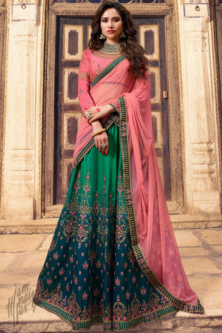 Shaded Green and Baby Pink Barfi Silk Lehenga Set