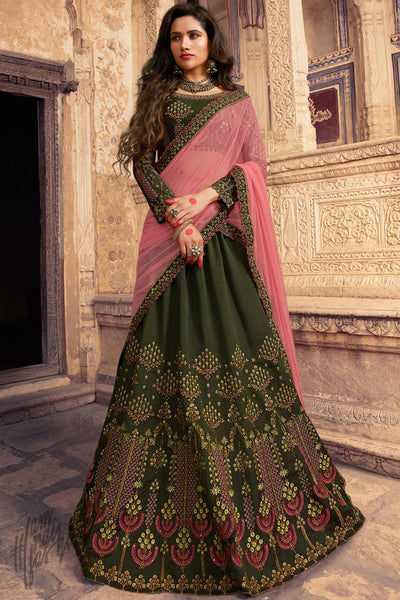 Dark Mehandi Green and Baby Pink Barfi Silk Lehenga Set