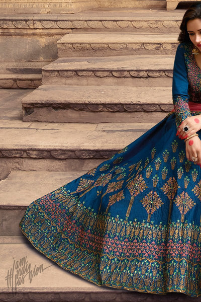 Royal Blue and Pink Barfi Silk Lehenga Set