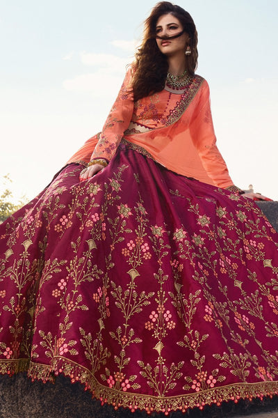 Maroon and Peach Barfi Silk Lehenga Set