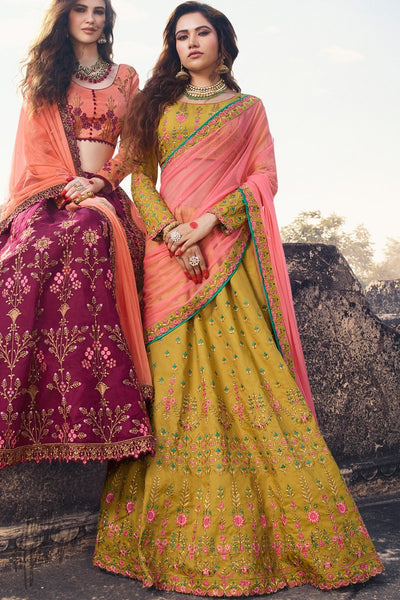 Mustard and Baby Pink Barfi Silk Lehenga Set
