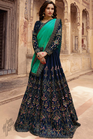Navy Blue and Firozi Velvet Lehenga Set