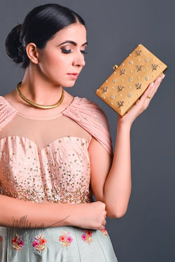 Beige Hand Embroidered Box Clutch by Parchi Design Studio