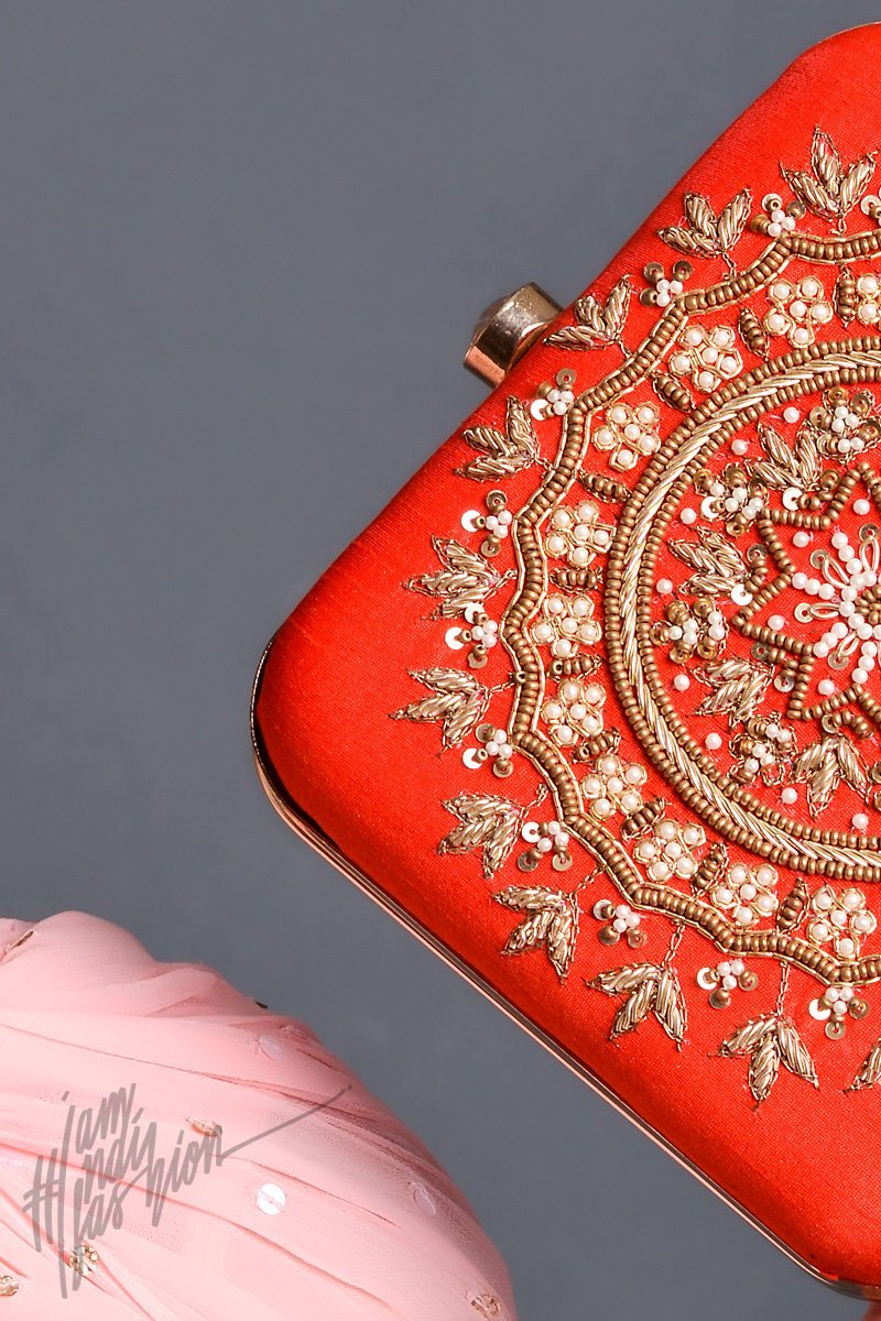 Red Ethnic Mandala Motif Hand Embroidered Box Clutch by Parchi Design Studio