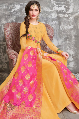 Mango Yellow and Magenta Upada Silk Suit with Palazzo Pants