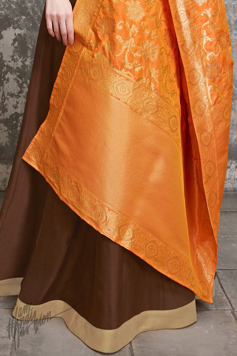 Brown and Orange Upada Silk Suit with Palazzo Pants