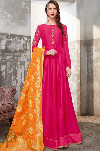 Rani Pink and Orange Upada Silk Suit with Palazzo Pants