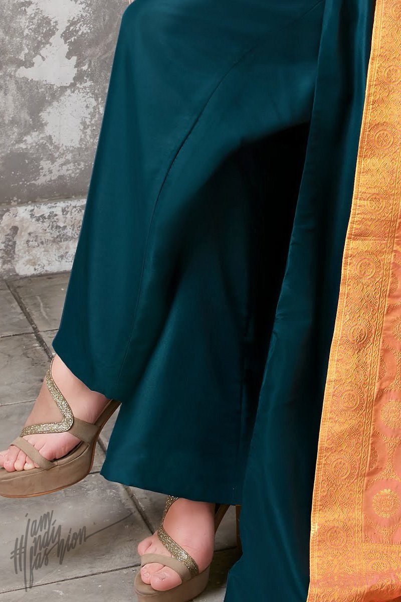 Teal and Peach Upada Silk Suit with Palazzo Pants