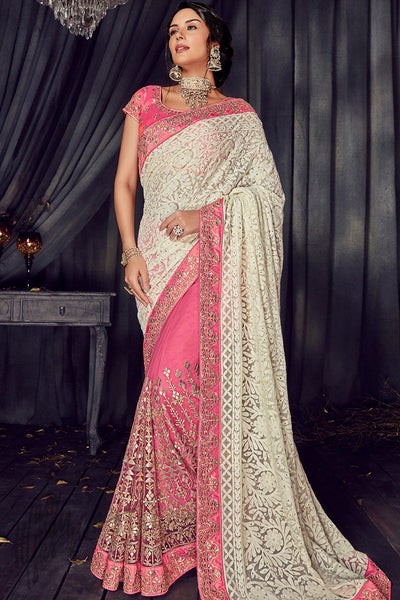 Pink and White Half and Half Georgette and Net Saree