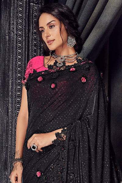 Black and Pink Imported Lycra and Net Saree