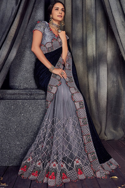 Blue and Silver Gray Half and Half Velvet and Net Saree