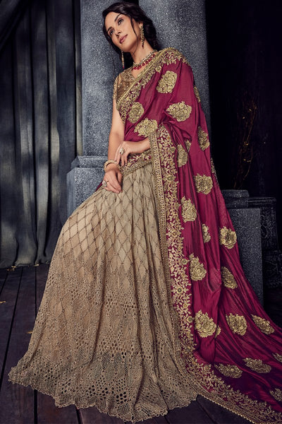 Purple and Copper Gold Half and Half Pure Satin and Net Saree