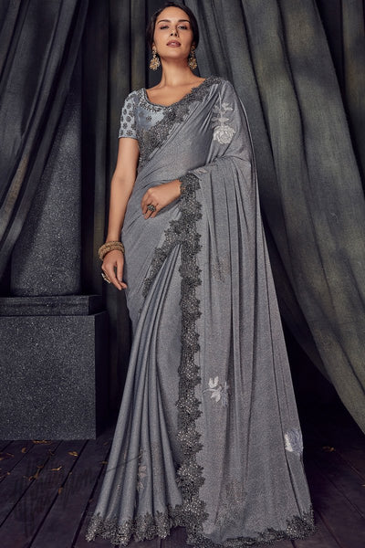 Silver Gray Imported Lycra Saree