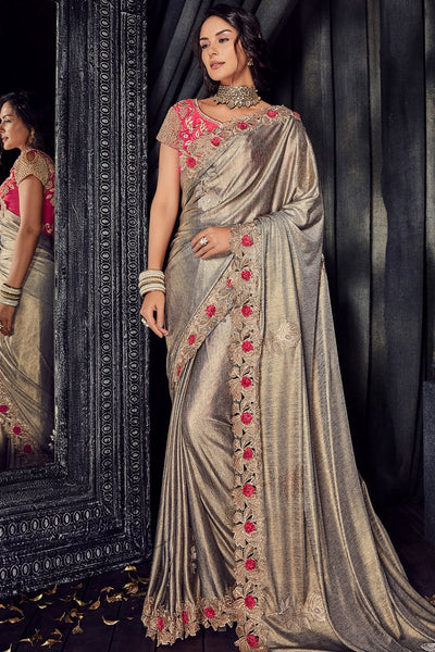 Shimmer Gold and Pink Imported Lycra Saree