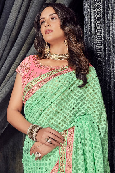 Mint Green and Pink Georgette and Net Saree