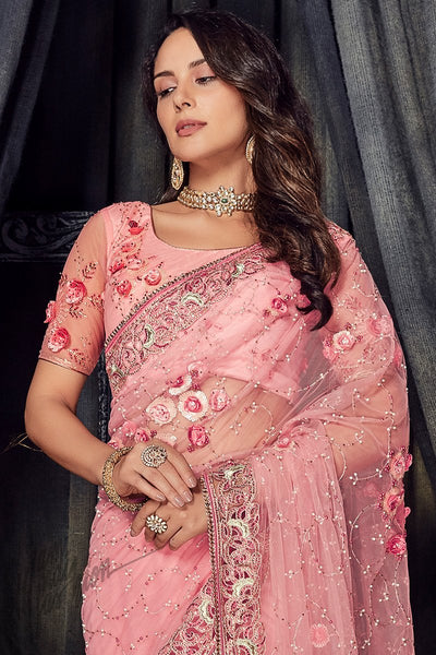 Pink Pure Net Saree