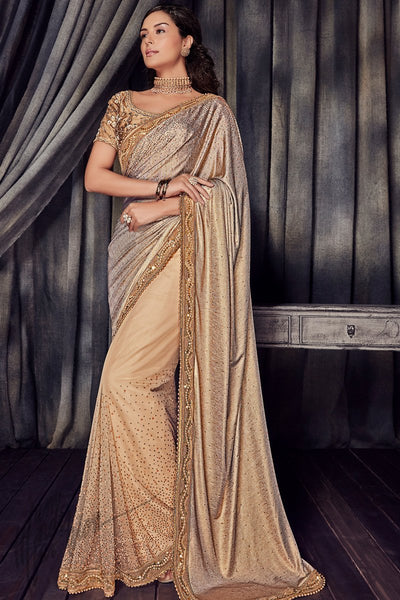 Shimmer Gold and Beige Imported Lycra Saree