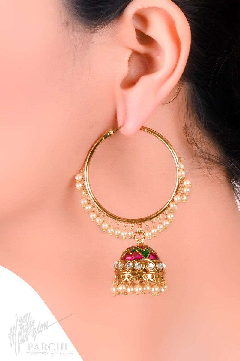 Magenta and Green Enameled Hoop Jhumki