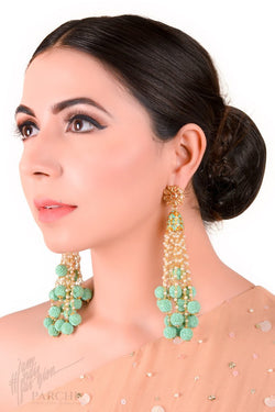 Turquoise and Gold Chandelier Jhumki