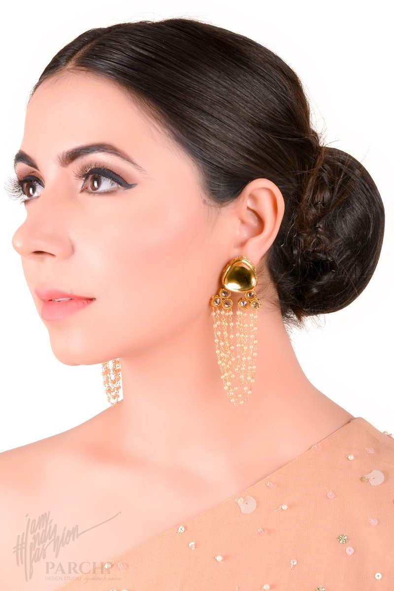 Golden Stone and Pearl Hanging Earring