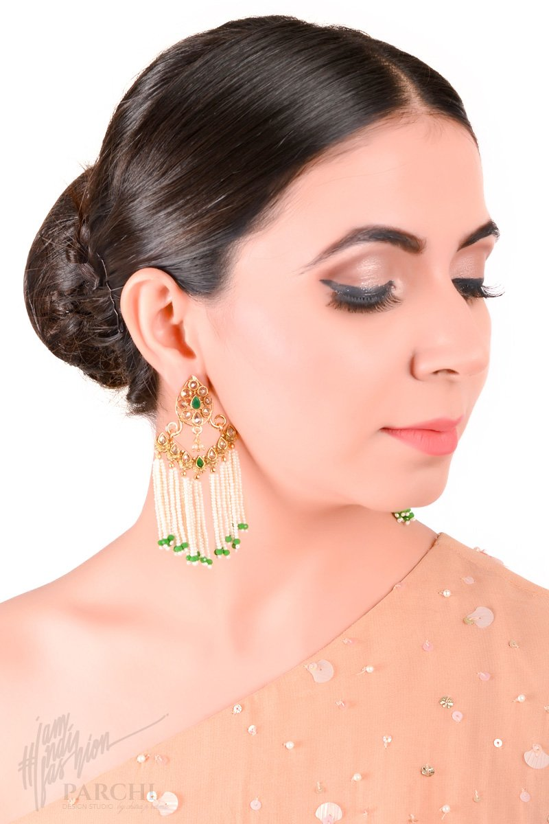 Golden and Green Pearl String Earring