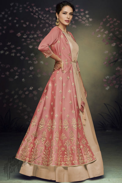 Chiku and Rust Jacket Style Satin Silk and Net Party Wear Gown