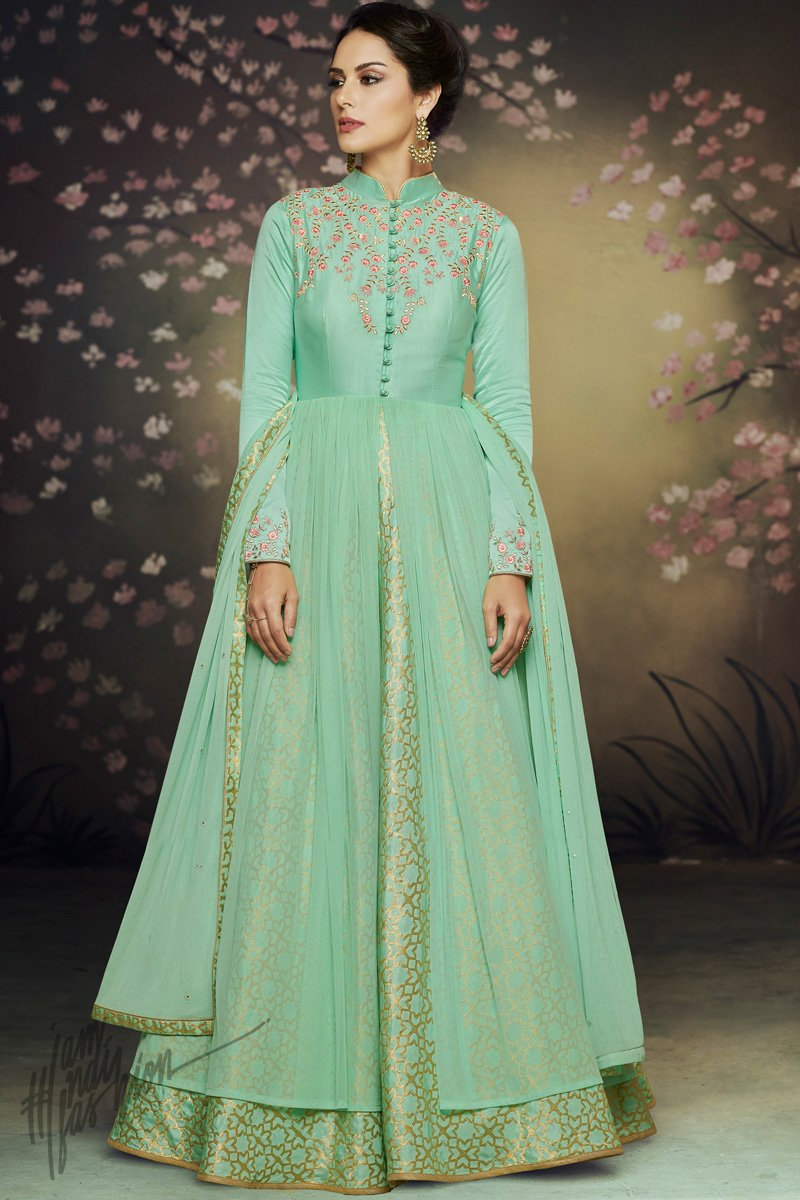 8364b7c83f Sea Green Double Layered Satin Silk and Net Party Wear Gown - indi ...