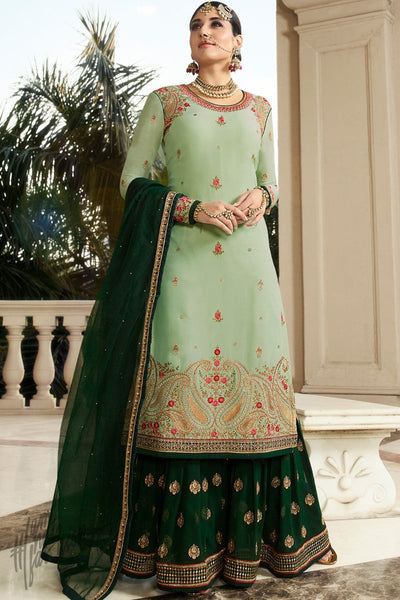 Mint and Forest Green Georgette Sharara Suit