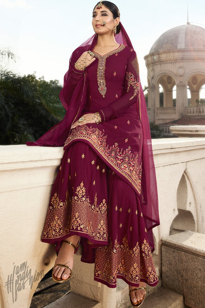 Wine Georgette Sharara Suit