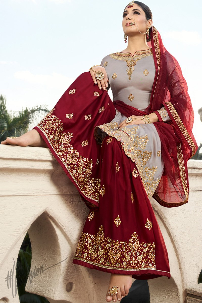 Gray and Maroon Georgette Sharara Suit