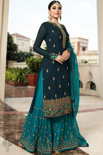 Navy Blue and Teal Georgette Sharara Suit