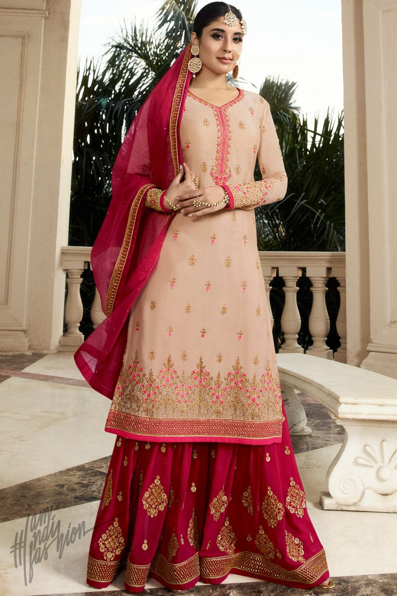 Light Peach and Burgundy Georgette Sharara Suit