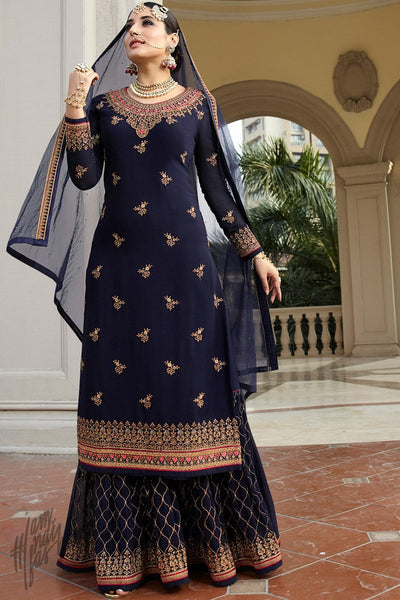 Navy Blue Georgette Sharara Suit