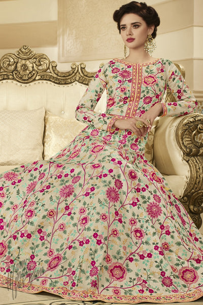 Beige Mulberry Silk Floor Length Anarkali Suit
