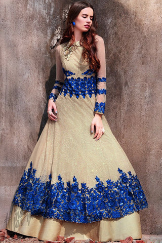 Cream and Blue Net Anarkali Suit