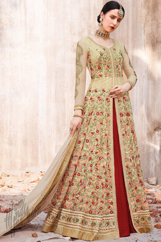 Cream and Maroon Net Lehenga Style Suit