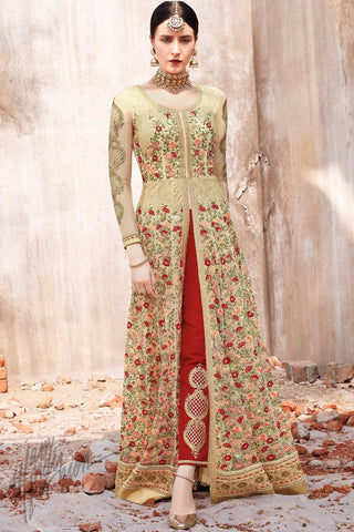 Cream and Maroon Net Anarkali Suit with Pants