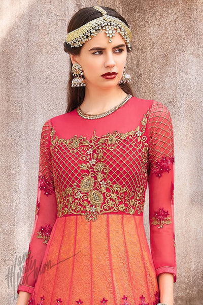 Red and Gold Net Anarkali Suit