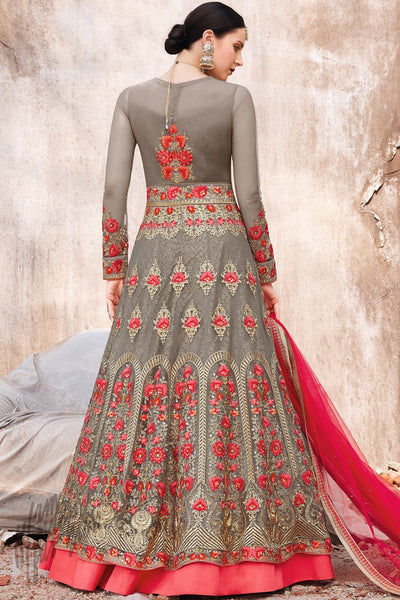 Gray Net Anarkali Suit