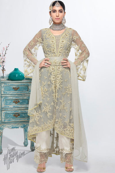 Gray and White Net and Georgette Assymetrical Party Wear Suit