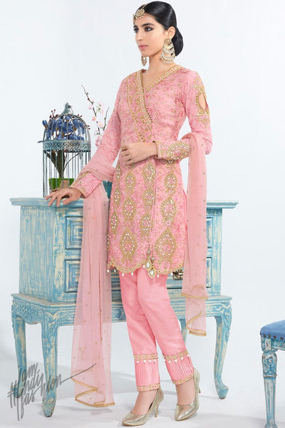 Pink Net and Georgette Short Length Party Wear Suit