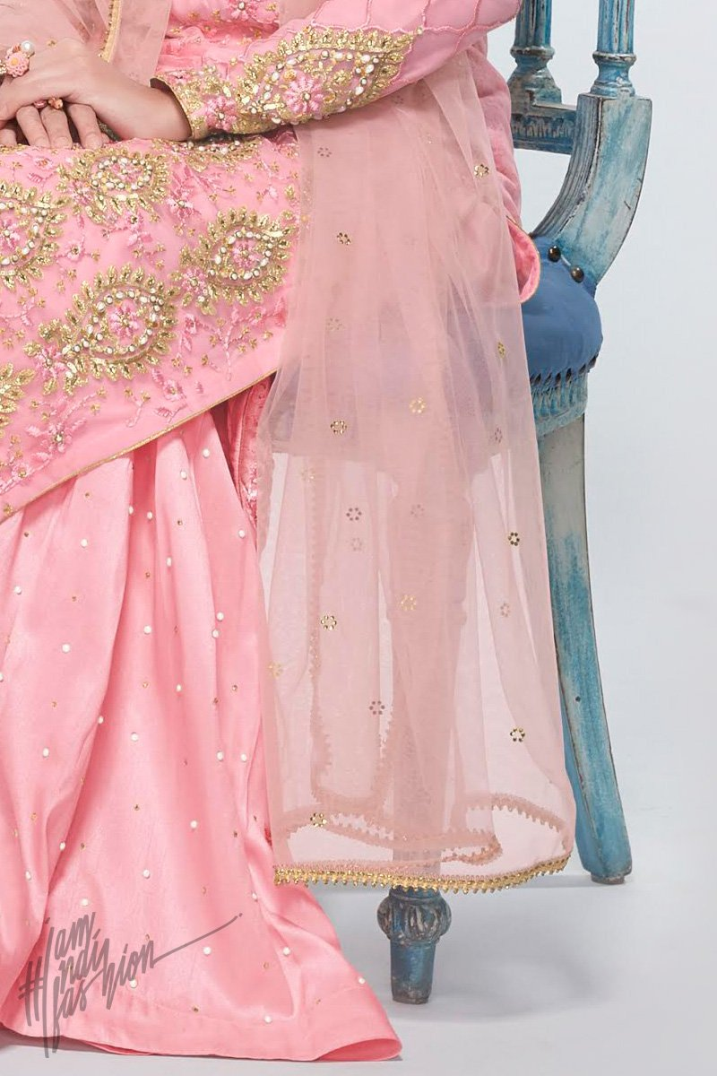 Pink Net and Georgette Party Wear Palazzo Suit