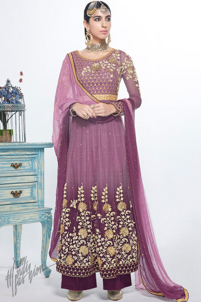 Mauve and Purple Shaded Net and Georgette Party Wear Suit