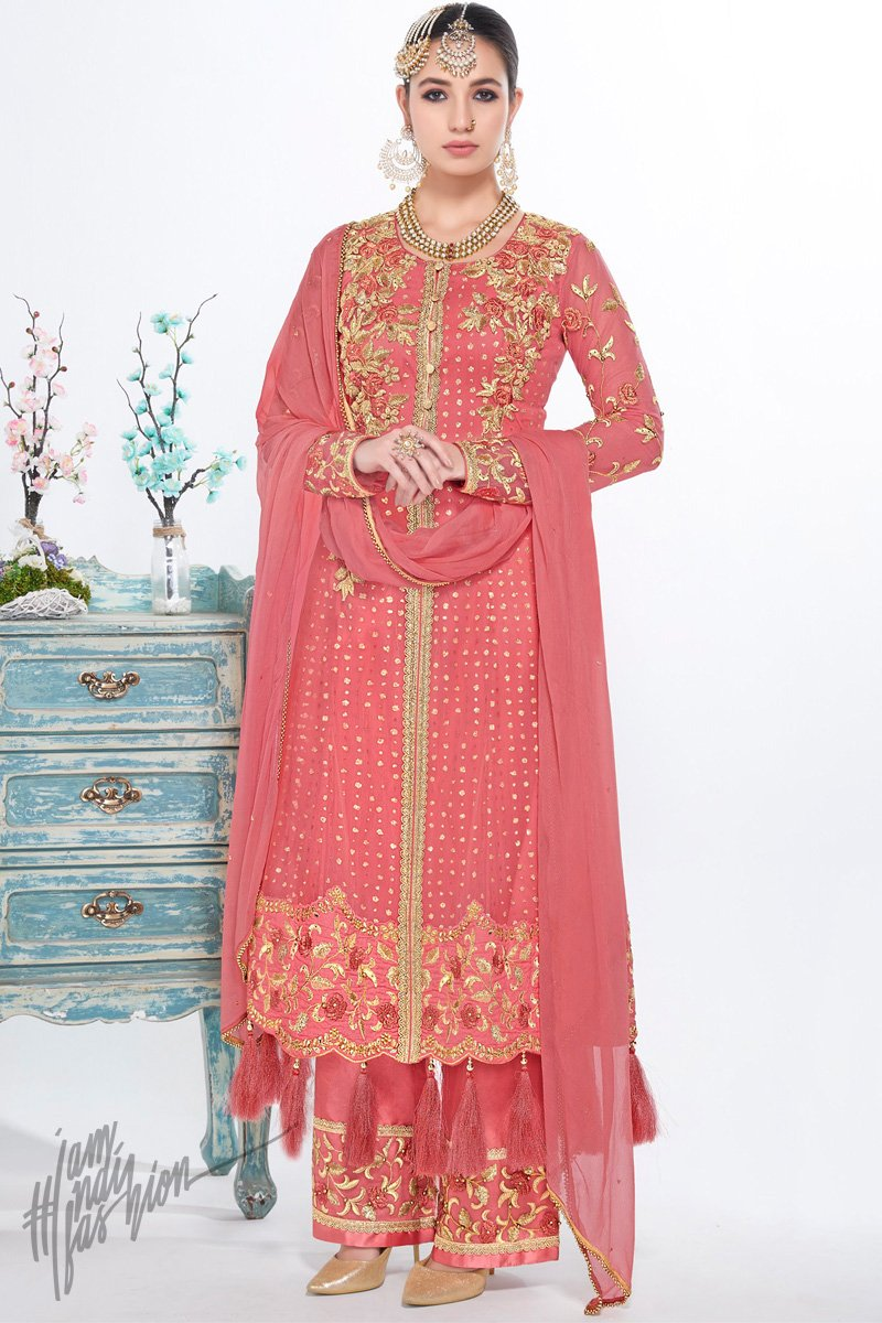 Dark Peach Net and Georgette Straight Cut Party Wear Suit