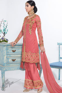 Dark Peach Net and Georgette Short Length Party Wear Suit