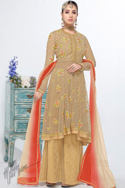 Beige Net and Georgette Party Wear Palazzo Suit