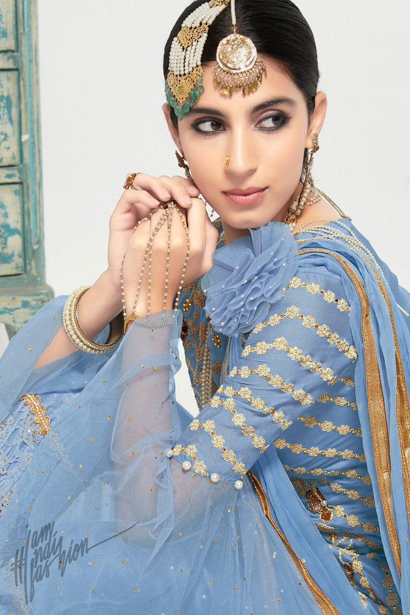 Blue Net and Georgette Straight Cut Party Wear Suit