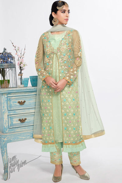 Mint Green Net and Georgette Straight Cut Party Wear Suit