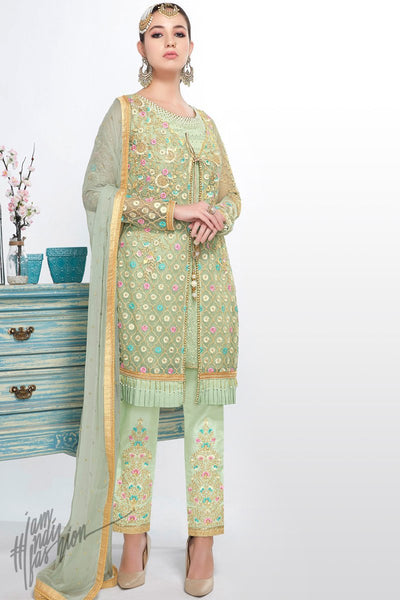 Mint Green Net and Georgette Short Length Party Wear Suit