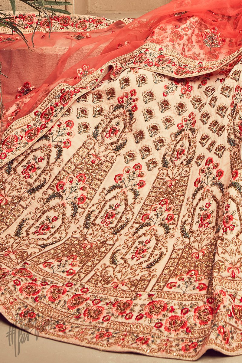 Cream and Peach Silk Bridal Lehenga Set